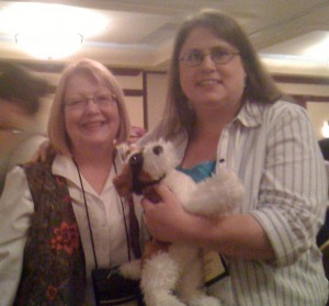 "Editor Debra Dixon with ""Fang"" and e"